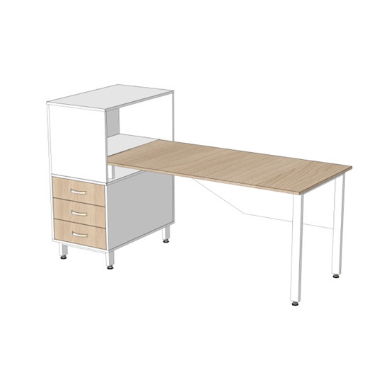Офисный стол МО-С3-Т4 размеры 1750х770х1110 мм